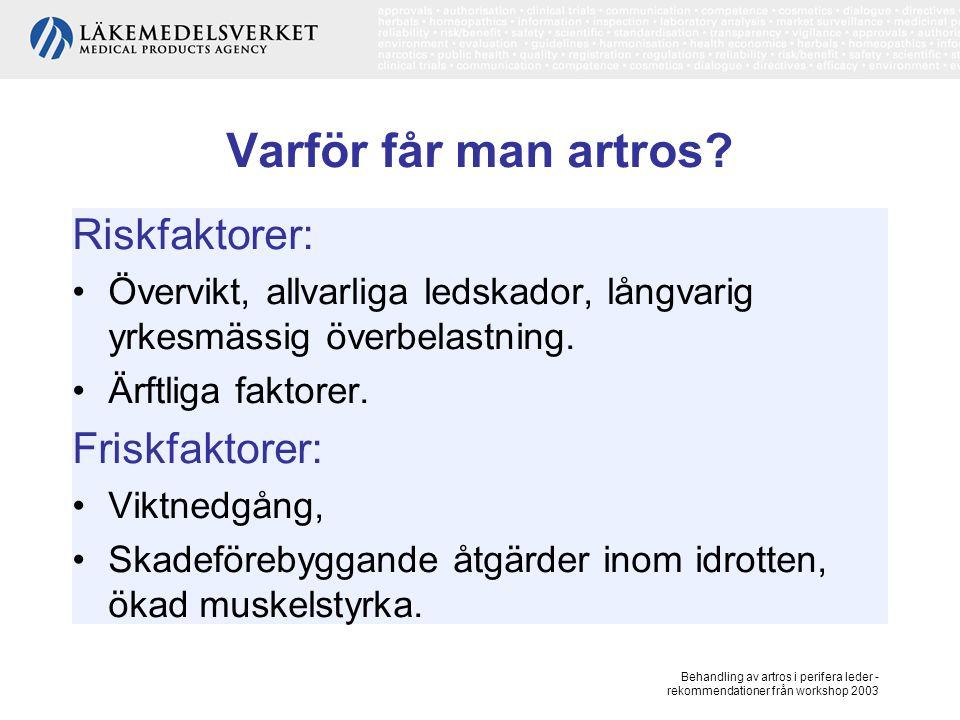 Behandling av artros i perifera leder - rekommendationer från workshop 2003 Klassificering av artros Drabbar framförallt knä, hand, höft, stortåns grundled, akromioklavikularleden, samt käkled.