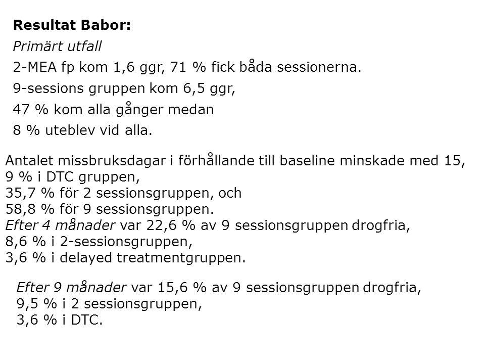 Resultat Babor: Primärt utfall 2-MEA fp kom 1,6 ggr, 71 % fick båda sessionerna. 9-sessions gruppen kom 6,5 ggr, 47 % kom alla gånger medan 8 % uteble