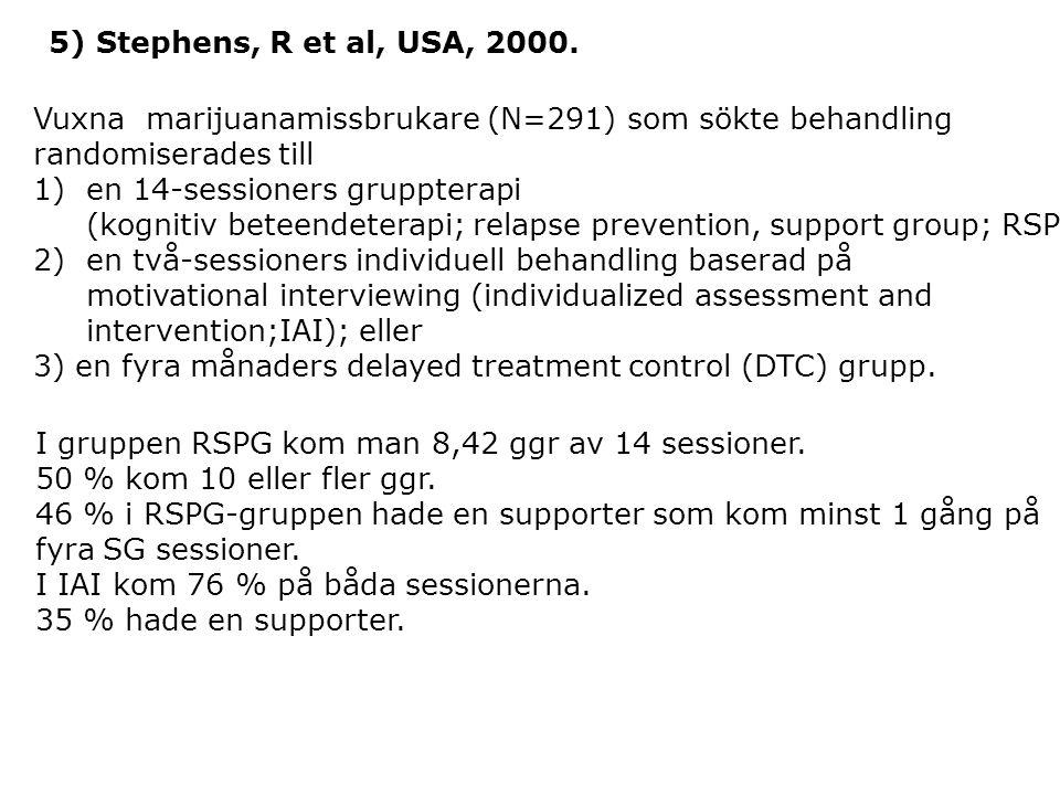 5) Stephens, R et al, USA, 2000. Vuxna marijuanamissbrukare (N=291) som sökte behandling randomiserades till 1)en 14-sessioners gruppterapi (kognitiv