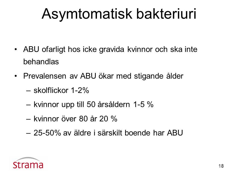 18 Asymtomatisk bakteriuri ABU ofarligt hos icke gravida kvinnor och ska inte behandlas Prevalensen av ABU ökar med stigande ålder –skolflickor 1-2% –kvinnor upp till 50 årsåldern 1-5 % –kvinnor över 80 år 20 % –25-50% av äldre i särskilt boende har ABU