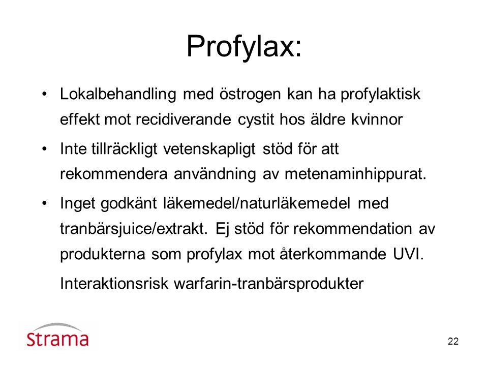 22 Profylax: Lokalbehandling med östrogen kan ha profylaktisk effekt mot recidiverande cystit hos äldre kvinnor Inte tillräckligt vetenskapligt stöd för att rekommendera användning av metenaminhippurat.