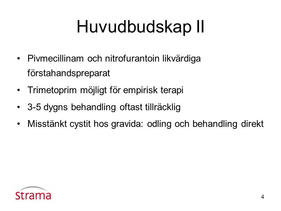 4 Huvudbudskap II Pivmecillinam och nitrofurantoin likvärdiga förstahandspreparat Trimetoprim möjligt för empirisk terapi 3-5 dygns behandling oftast tillräcklig Misstänkt cystit hos gravida: odling och behandling direkt