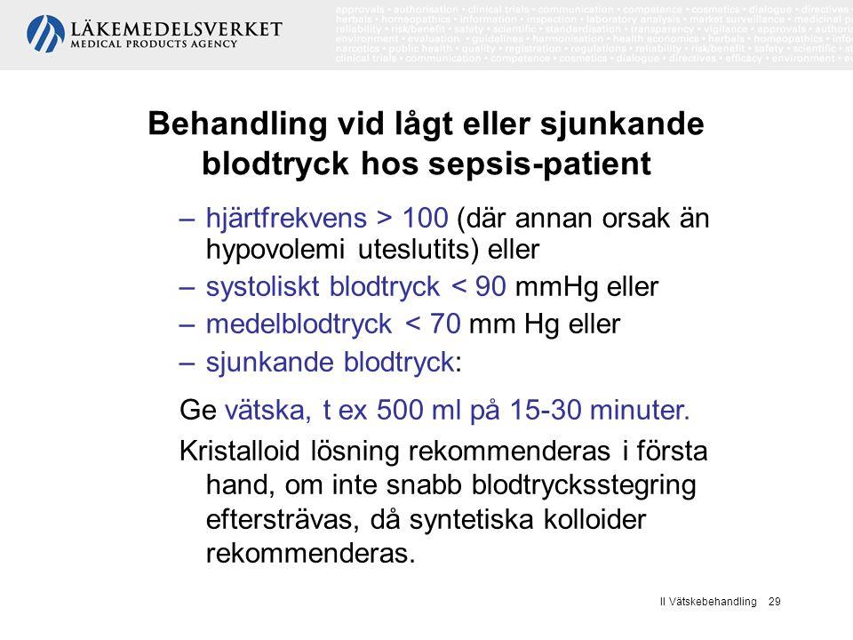 II Vätskebehandling 29 Behandling vid lågt eller sjunkande blodtryck hos sepsis-patient –hjärtfrekvens > 100 (där annan orsak än hypovolemi uteslutits