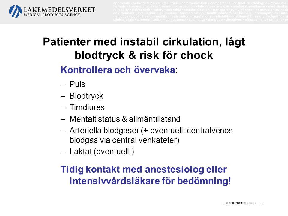 II Vätskebehandling 30 Patienter med instabil cirkulation, lågt blodtryck & risk för chock Kontrollera och övervaka: –Puls –Blodtryck –Timdiures –Ment