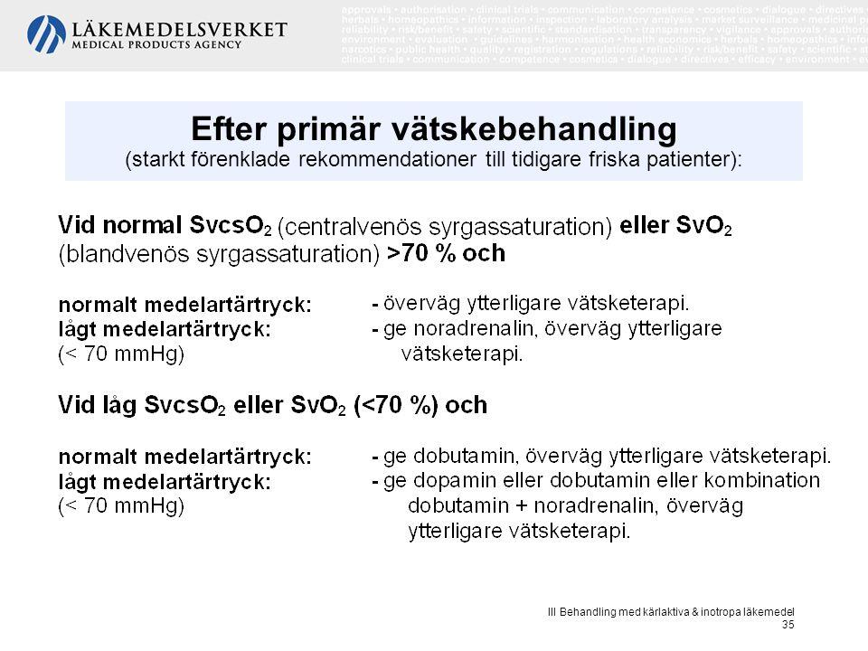 III Behandling med kärlaktiva & inotropa läkemedel 35 Efter primär vätskebehandling (starkt förenklade rekommendationer till tidigare friska patienter