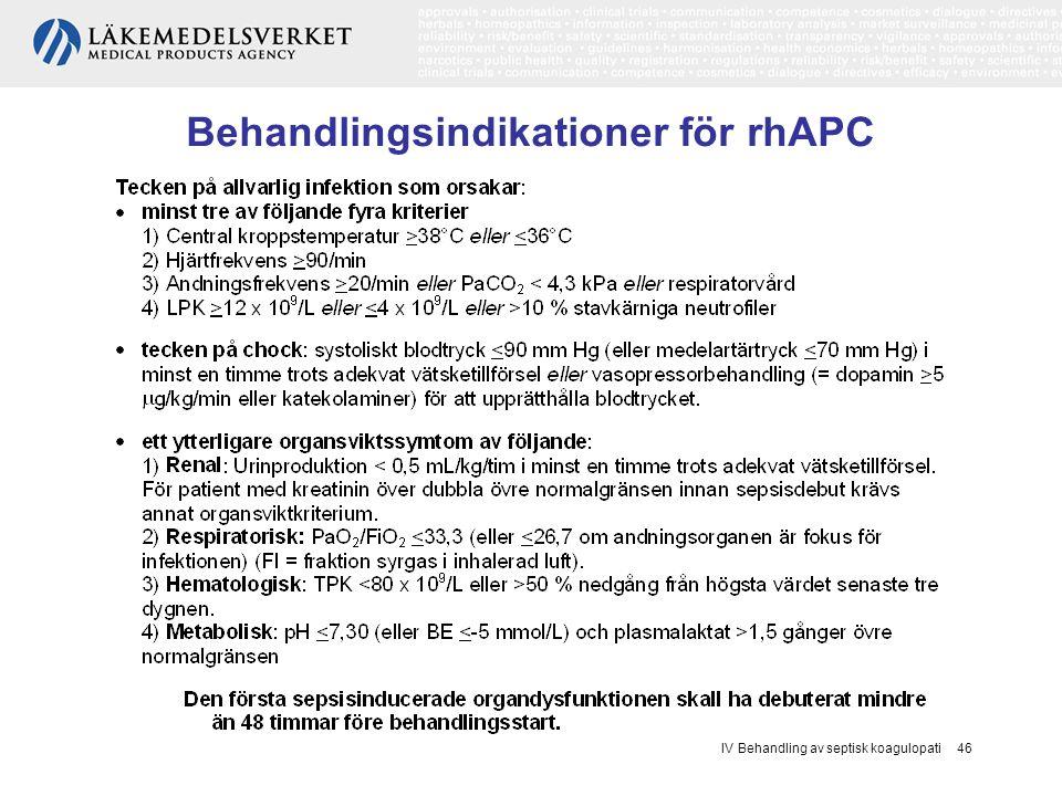IV Behandling av septisk koagulopati 46 Behandlingsindikationer för rhAPC