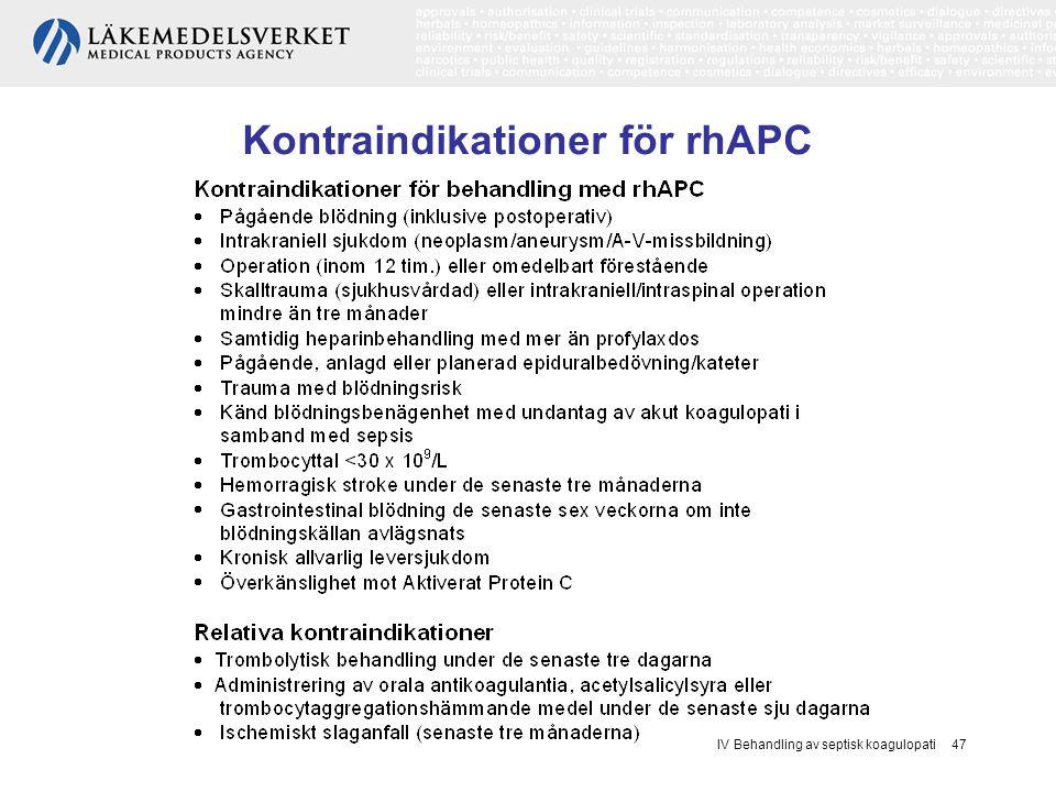 IV Behandling av septisk koagulopati 47 Kontraindikationer för rhAPC