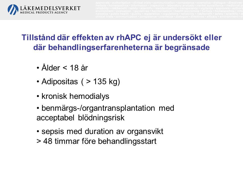 Tillstånd där effekten av rhAPC ej är undersökt eller där behandlingserfarenheterna är begränsade Ålder < 18 år Adipositas ( > 135 kg) kronisk hemodia