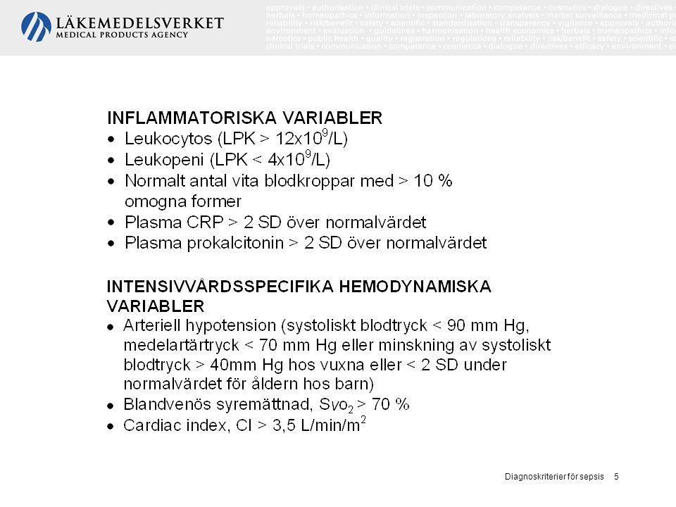 Diagnoskriterier för sepsis 6