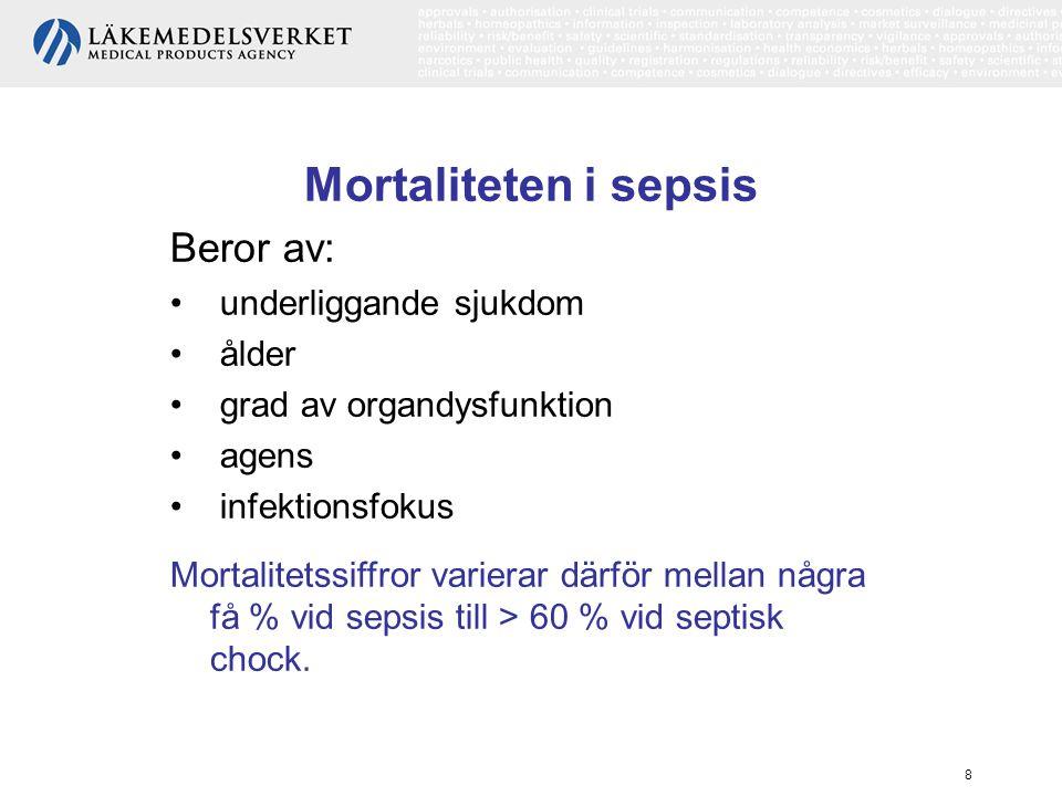 8 Mortaliteten i sepsis Beror av: underliggande sjukdom ålder grad av organdysfunktion agens infektionsfokus Mortalitetssiffror varierar därför mellan