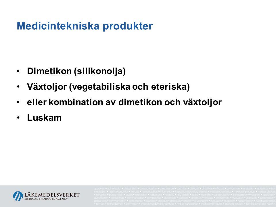 Medicintekniska produkter Dimetikon (silikonolja) Växtoljor (vegetabiliska och eteriska) eller kombination av dimetikon och växtoljor Luskam