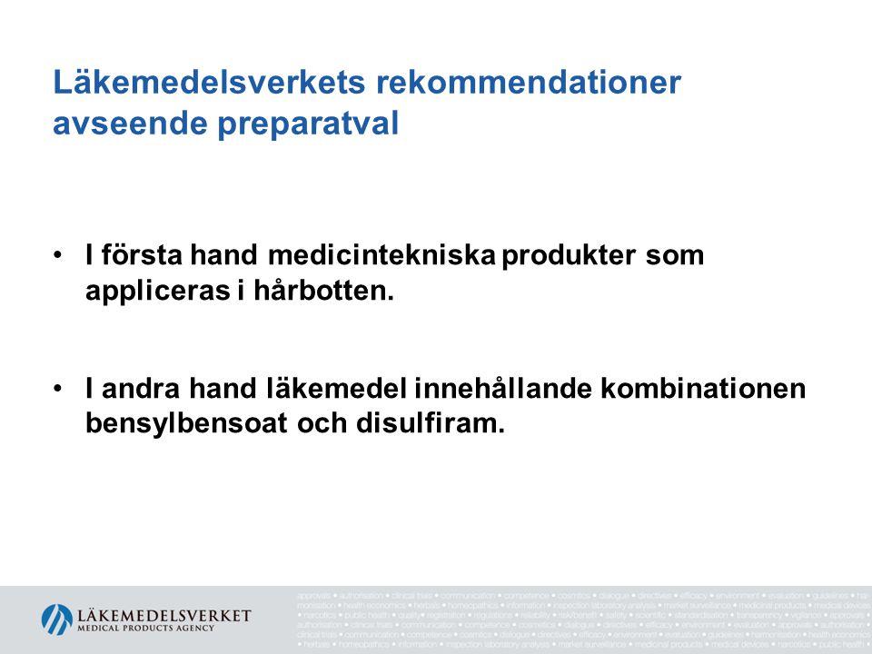 Läkemedelsverkets rekommendationer avseende preparatval I första hand medicintekniska produkter som appliceras i hårbotten. I andra hand läkemedel inn