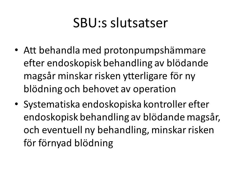 SBU:s slutsatser Att behandla med protonpumpshämmare efter endoskopisk behandling av blödande magsår minskar risken ytterligare för ny blödning och behovet av operation Systematiska endoskopiska kontroller efter endoskopisk behandling av blödande magsår, och eventuell ny behandling, minskar risken för förnyad blödning