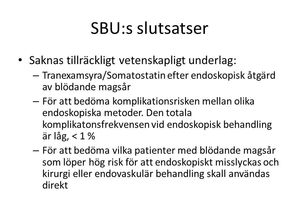 SBU:s slutsatser Saknas tillräckligt vetenskapligt underlag: – Tranexamsyra/Somatostatin efter endoskopisk åtgärd av blödande magsår – För att bedöma komplikationsrisken mellan olika endoskopiska metoder.
