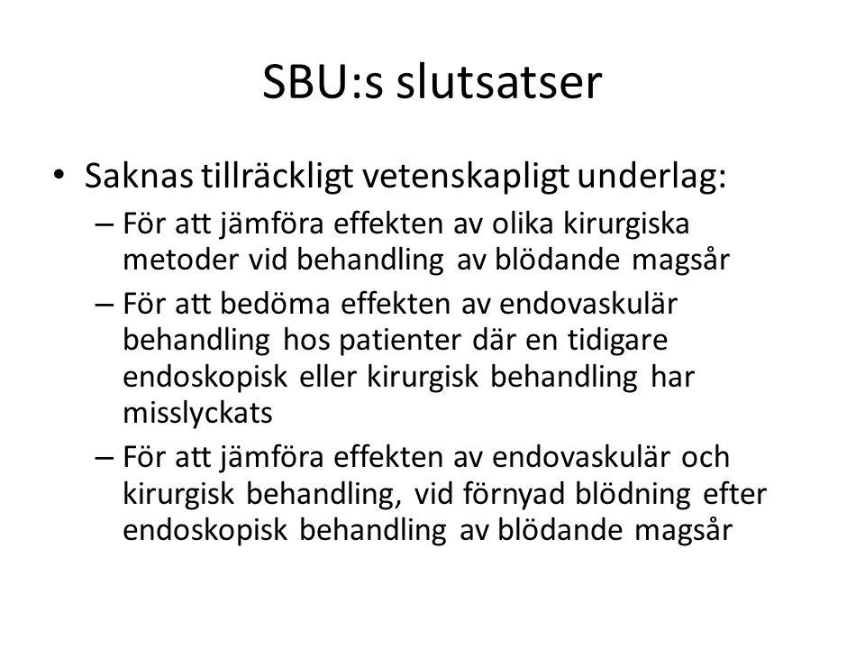 SBU:s slutsatser Saknas tillräckligt vetenskapligt underlag: – För att jämföra effekten av olika kirurgiska metoder vid behandling av blödande magsår