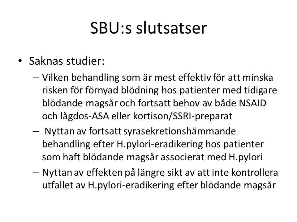 SBU:s slutsatser Saknas studier: – Vilken behandling som är mest effektiv för att minska risken för förnyad blödning hos patienter med tidigare blödande magsår och fortsatt behov av både NSAID och lågdos-ASA eller kortison/SSRI-preparat – Nyttan av fortsatt syrasekretionshämmande behandling efter H.pylori-eradikering hos patienter som haft blödande magsår associerat med H.pylori – Nyttan av effekten på längre sikt av att inte kontrollera utfallet av H.pylori-eradikering efter blödande magsår