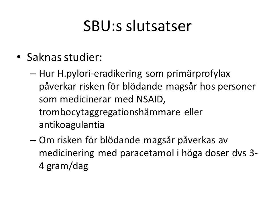 SBU:s slutsatser Saknas studier: – Hur H.pylori-eradikering som primärprofylax påverkar risken för blödande magsår hos personer som medicinerar med NSAID, trombocytaggregationshämmare eller antikoagulantia – Om risken för blödande magsår påverkas av medicinering med paracetamol i höga doser dvs 3- 4 gram/dag