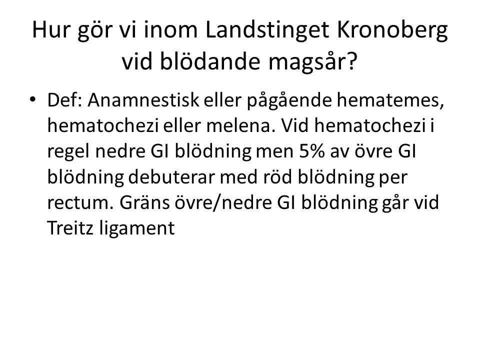 Hur gör vi inom Landstinget Kronoberg vid blödande magsår? Def: Anamnestisk eller pågående hematemes, hematochezi eller melena. Vid hematochezi i rege