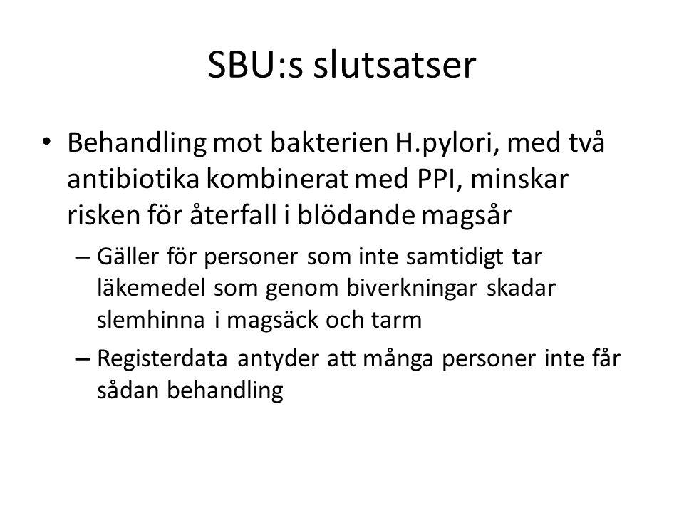 SBU:s slutsatser Hos personer som haft blödande magsår och som behöver behandling med lågdos-ASA, minskar risken för ny blödning om de behandlas mot H.pylori följt av protonpumpsbehandling i förebyggande syfte