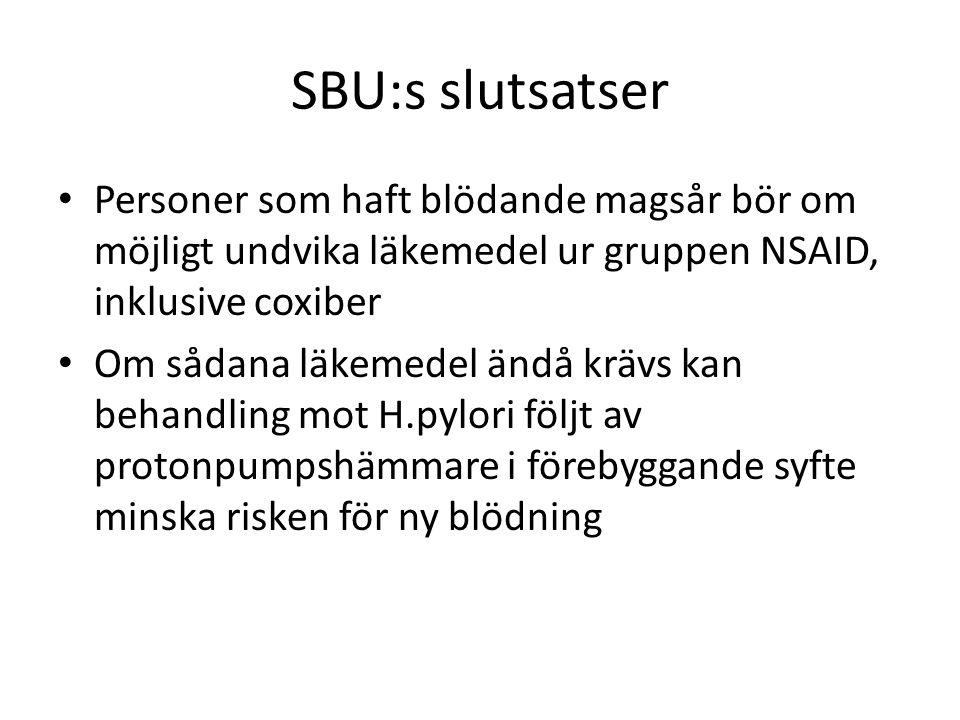 SBU:s slutsatser Personer som haft blödande magsår bör om möjligt undvika läkemedel ur gruppen NSAID, inklusive coxiber Om sådana läkemedel ändå krävs
