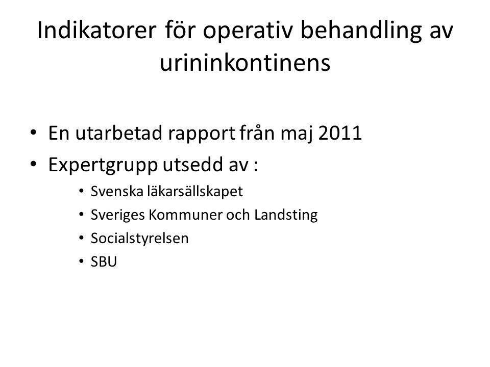 Indikatorer för operativ behandling av urininkontinens En utarbetad rapport från maj 2011 Expertgrupp utsedd av : Svenska läkarsällskapet Sveriges Kommuner och Landsting Socialstyrelsen SBU