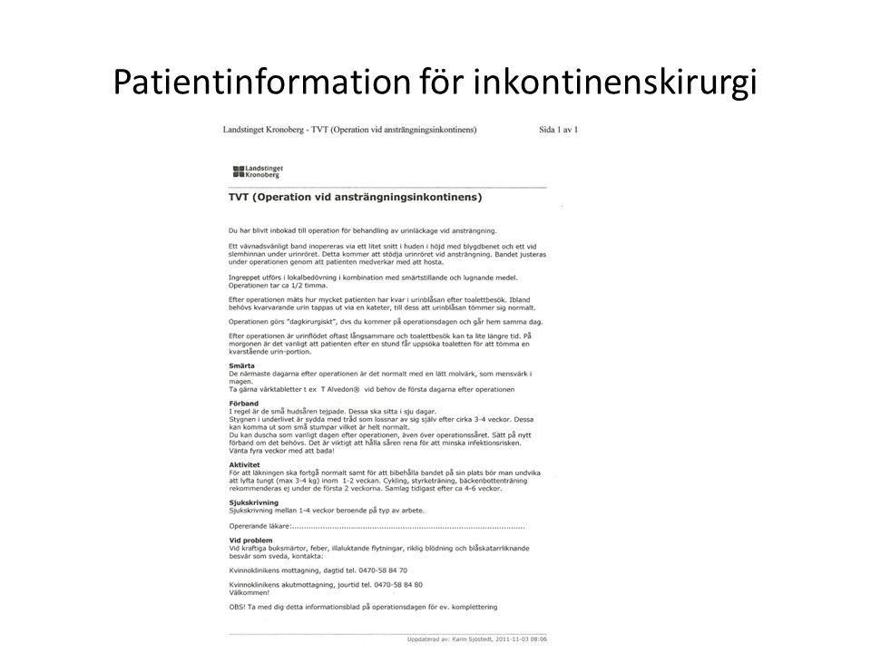Patientinformation för inkontinenskirurgi