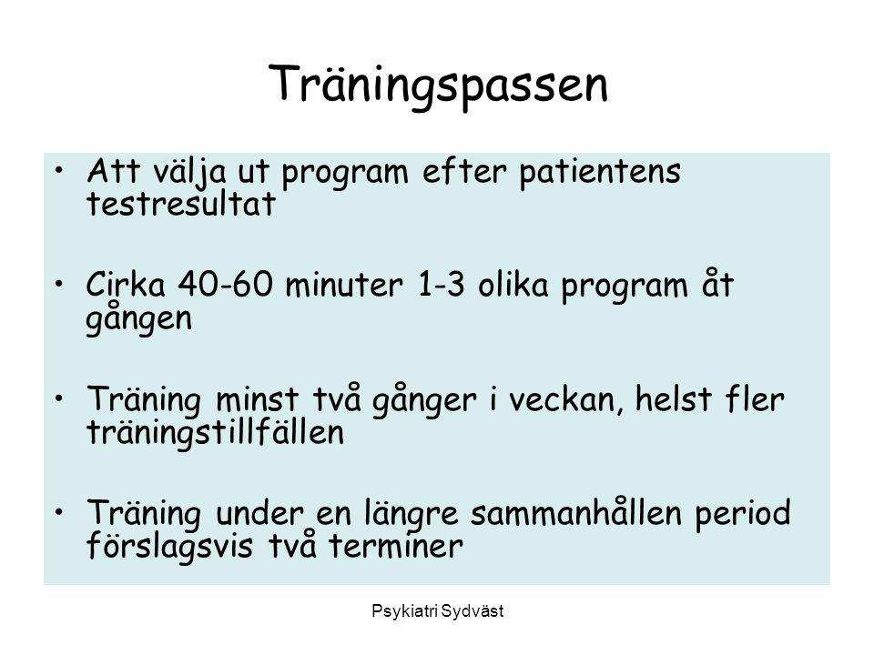 Träningspassen Att välja ut program efter patientens testresultat Cirka 40-60 minuter 1-3 olika program åt gången Träning minst två gånger i veckan, h