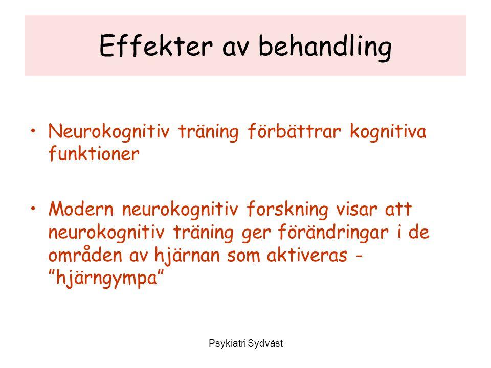 Effekter av behandling Neurokognitiv träning förbättrar kognitiva funktioner Modern neurokognitiv forskning visar att neurokognitiv träning ger föränd