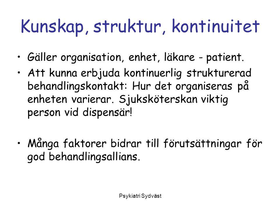 Psykiatri Sydväst Kunskap, struktur, kontinuitet Gäller organisation, enhet, läkare - patient. Att kunna erbjuda kontinuerlig strukturerad behandlings