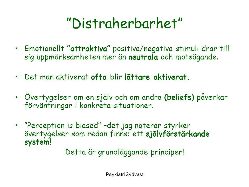 """Psykiatri Sydväst """"Distraherbarhet"""" Emotionellt """"attraktiva"""" positiva/negativa stimuli drar till sig uppmärksamheten mer än neutrala och motsägande. D"""