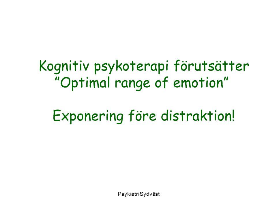 """Psykiatri Sydväst Kognitiv psykoterapi förutsätter """"Optimal range of emotion"""" Exponering före distraktion!"""