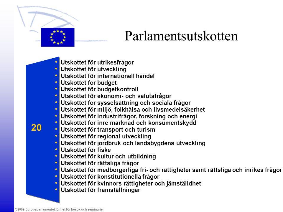 ©2009 Europaparlamentet, Enhet för besök och seminarier Parlamentsutskotten Utskottet för utrikesfrågor Utskottet för utveckling Utskottet för interna