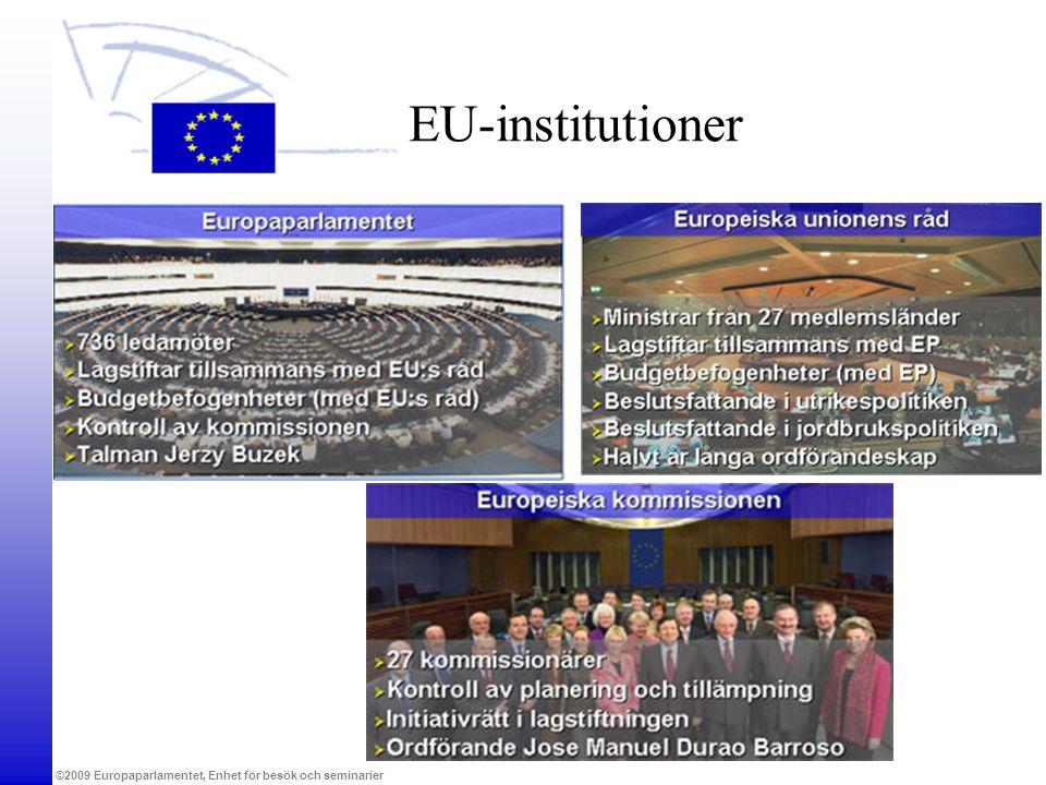 ©2009 Europaparlamentet, Enhet för besök och seminarier EU-institutioner