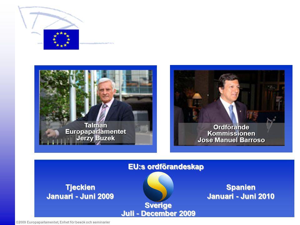 ©2009 Europaparlamentet, Enhet för besök och seminarier EU:s ordförandeskap Sverige Juli - December 2009 Tjeckien Januari - Juni 2009 Spanien Januari
