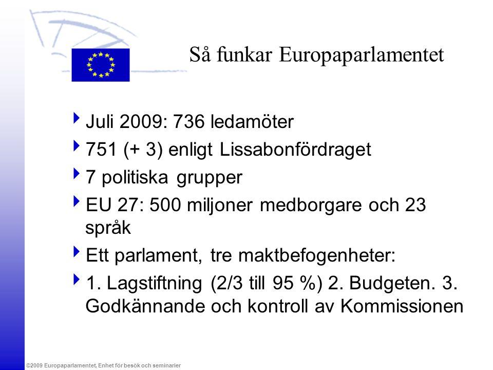 ©2009 Europaparlamentet, Enhet för besök och seminarier Så funkar Europaparlamentet  Juli 2009: 736 ledamöter  751 (+ 3) enligt Lissabonfördraget 