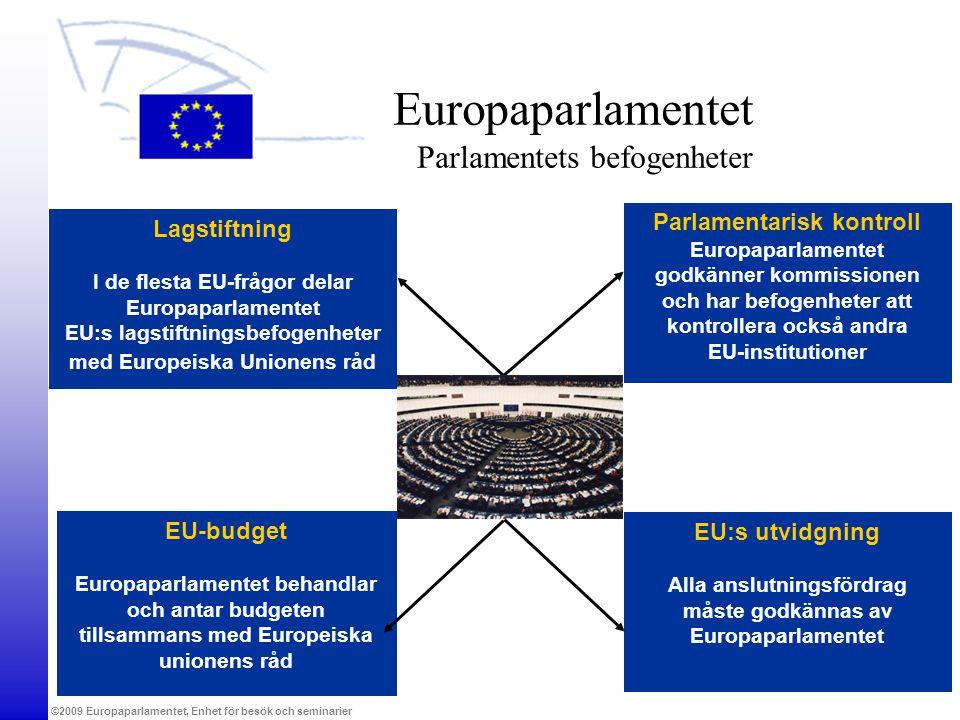©2009 Europaparlamentet, Enhet för besök och seminarier EU-budget Europaparlamentet behandlar och antar budgeten tillsammans med Europeiska unionens r