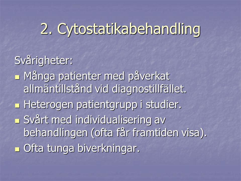 2. Cytostatikabehandling Svårigheter: Många patienter med påverkat allmäntillstånd vid diagnostillfället. Många patienter med påverkat allmäntillstånd
