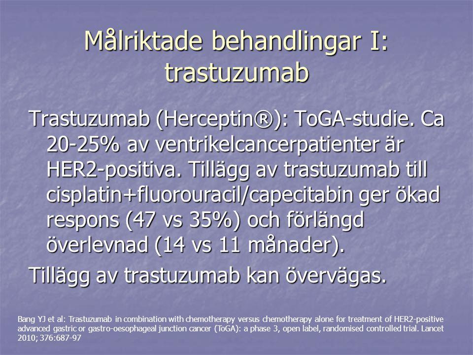 Målriktade behandlingar I: trastuzumab Trastuzumab (Herceptin®): ToGA-studie. Ca 20-25% av ventrikelcancerpatienter är HER2-positiva. Tillägg av trast