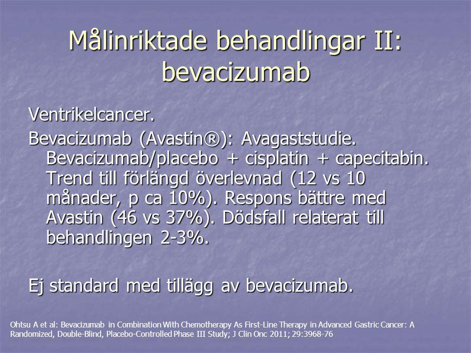 Målinriktade behandlingar II: bevacizumab Ventrikelcancer. Bevacizumab (Avastin®): Avagaststudie. Bevacizumab/placebo + cisplatin + capecitabin. Trend