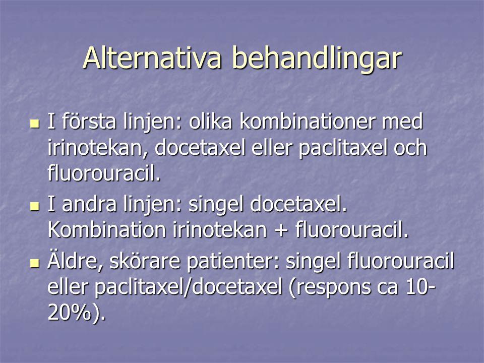 Alternativa behandlingar I första linjen: olika kombinationer med irinotekan, docetaxel eller paclitaxel och fluorouracil. I första linjen: olika komb