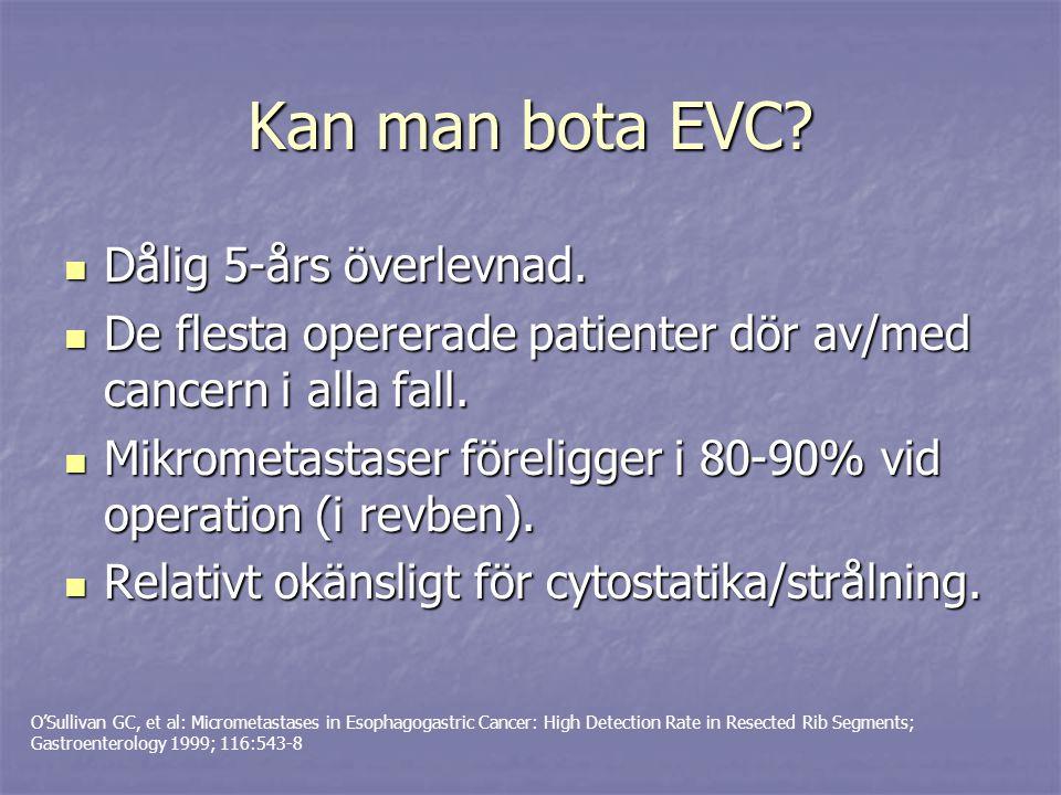 Negativa prediktiva faktorer Avancerat tumörstadium Avancerat tumörstadium Nedsatt allmäntillstånd (performance status >1) Nedsatt allmäntillstånd (performance status >1) Ej operation Ej operation Ej cytostatika (vinst med cyt några månader?) Ej cytostatika (vinst med cyt några månader?) Dålig differentieringsgrad resp diffus ventrikelcancer Dålig differentieringsgrad resp diffus ventrikelcancer Esofaguscancer (jmf med ventrikelcancer) Esofaguscancer (jmf med ventrikelcancer) Levermetastaser, peritonealcarcinomatos Levermetastaser, peritonealcarcinomatos Mutationer i p53-genen.