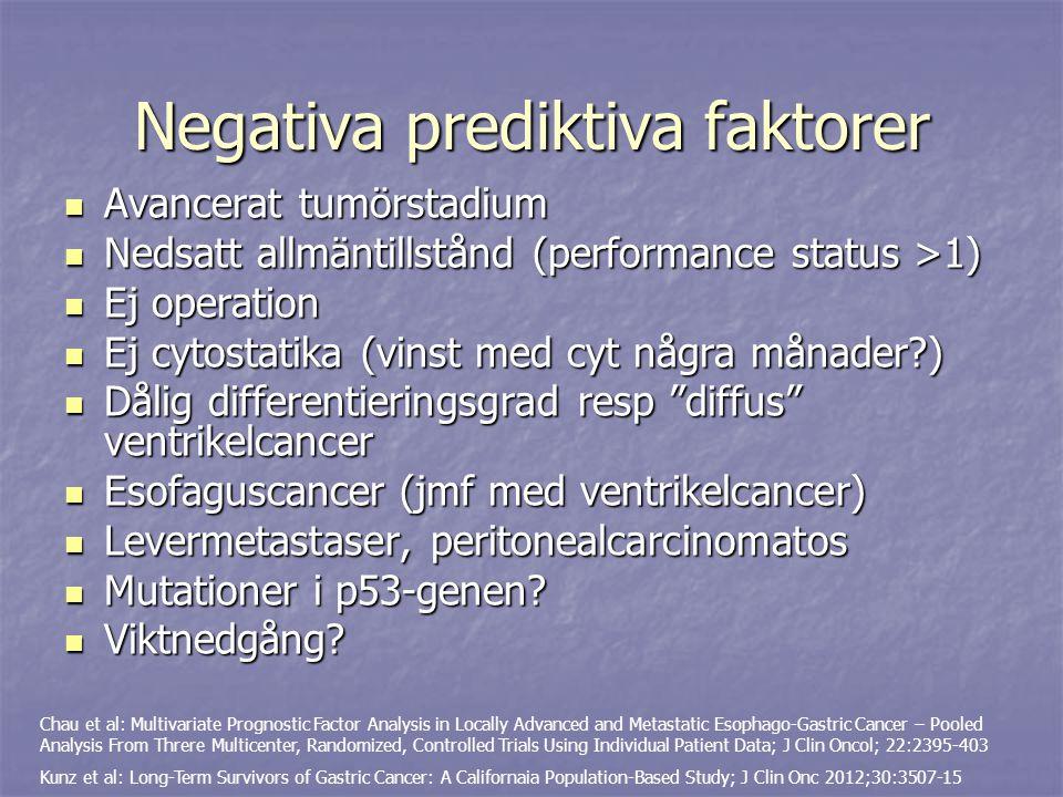 Negativa prediktiva faktorer Avancerat tumörstadium Avancerat tumörstadium Nedsatt allmäntillstånd (performance status >1) Nedsatt allmäntillstånd (pe