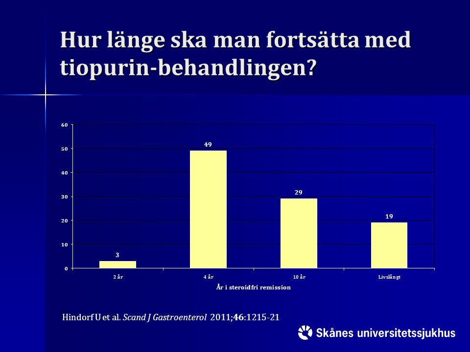 Hur länge ska man fortsätta med tiopurin-behandlingen? Hindorf U et al. Scand J Gastroenterol 2011;46:1215-21