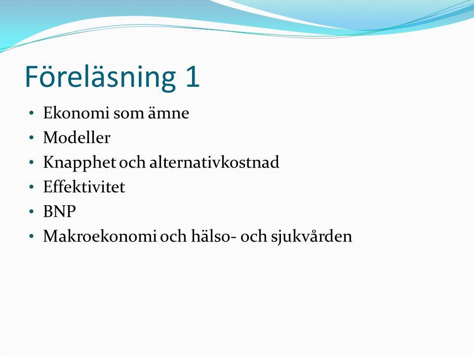 Föreläsning 1 Ekonomi som ämne Modeller Knapphet och alternativkostnad Effektivitet BNP Makroekonomi och hälso- och sjukvården
