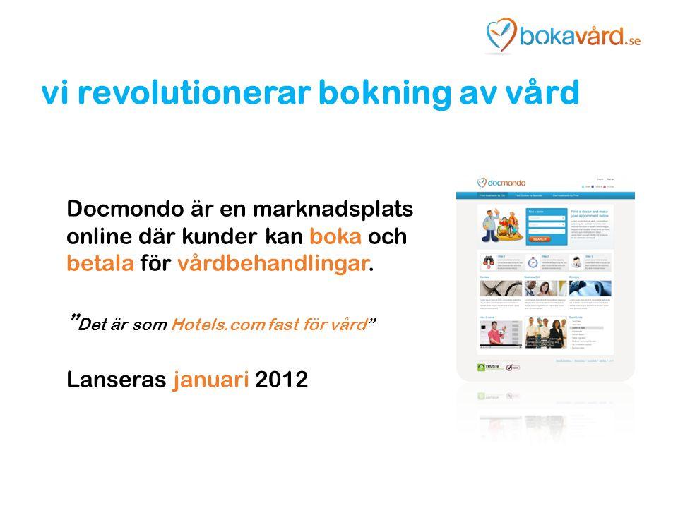 """vi revolutionerar bokning av vård Docmondo är en marknadsplats online där kunder kan boka och betala för vårdbehandlingar. """" Det är som Hotels.com fas"""
