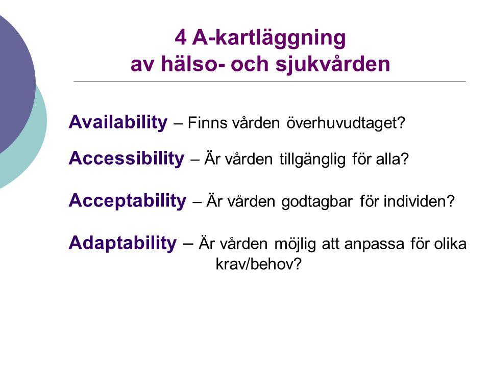4 A-kartläggning av hälso- och sjukvården Availability – Finns vården överhuvudtaget? Accessibility – Är vården tillgänglig för alla? Acceptability –