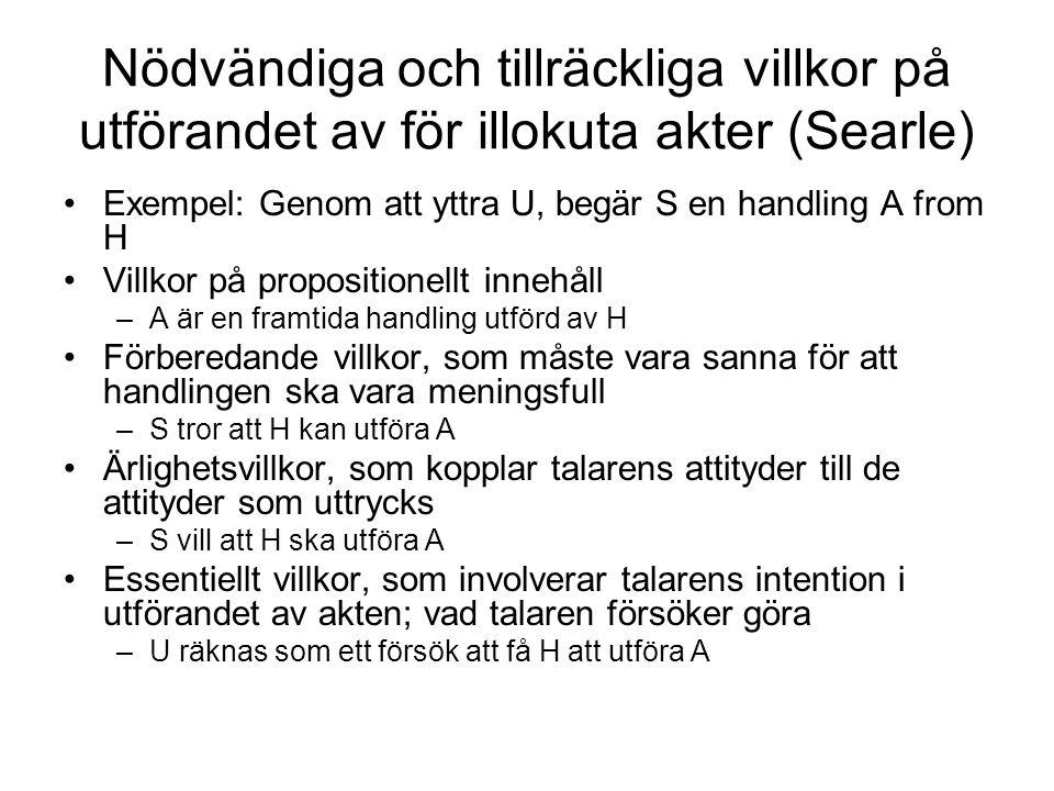 Nödvändiga och tillräckliga villkor på utförandet av för illokuta akter (Searle) Exempel: Genom att yttra U, begär S en handling A from H Villkor på p