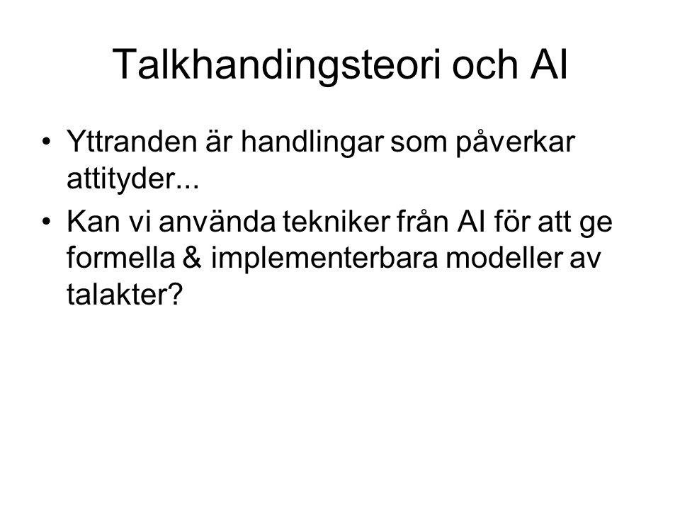 Talkhandingsteori och AI Yttranden är handlingar som påverkar attityder... Kan vi använda tekniker från AI för att ge formella & implementerbara model
