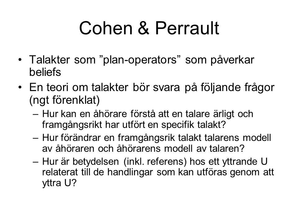 """Cohen & Perrault Talakter som """"plan-operators"""" som påverkar beliefs En teori om talakter bör svara på följande frågor (ngt förenklat) –Hur kan en åhör"""