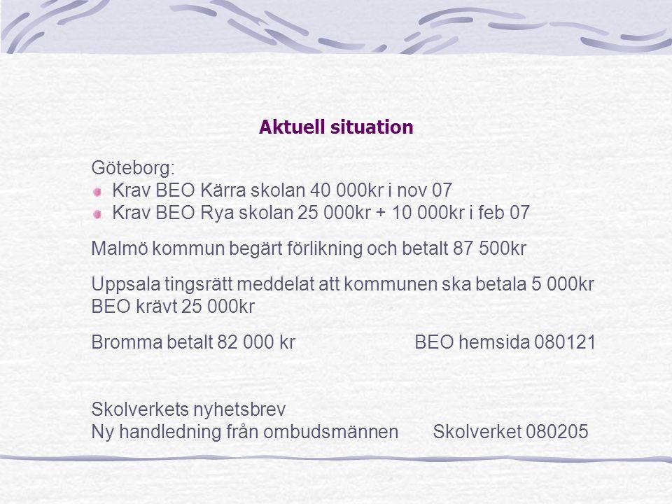 Aktuell situation Göteborg: Krav BEO Kärra skolan 40 000kr i nov 07 Krav BEO Rya skolan 25 000kr + 10 000kr i feb 07 Malmö kommun begärt förlikning oc